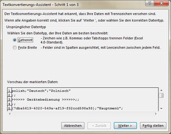 Excel Textkonvertierungs-Assistent Schritt 1 von 3