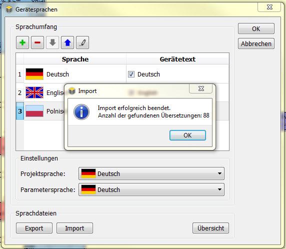 Import der Übersetzung (*.csv)