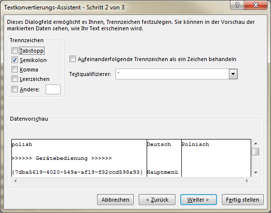 Excel Textkonvertierungs-Assistent Schritt 2 von 3