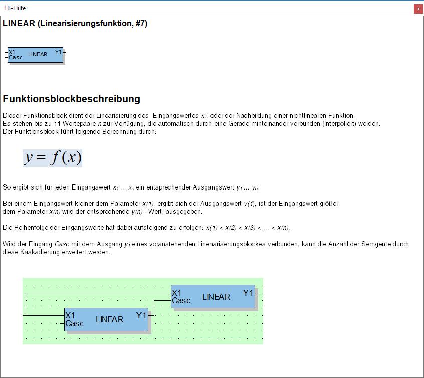 """Funktionsblock Beschreibung """"Linearisierungsfunktion"""""""