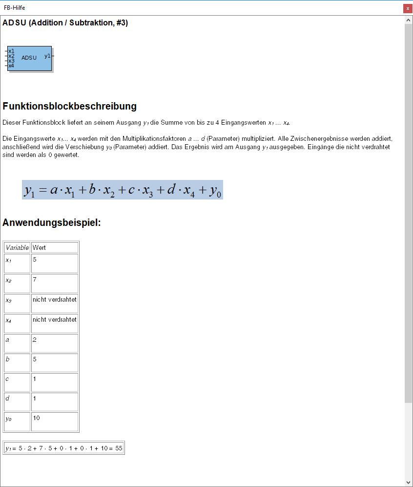"""Funktionsblock Beschreibung """"Addition / Subtraktion"""""""