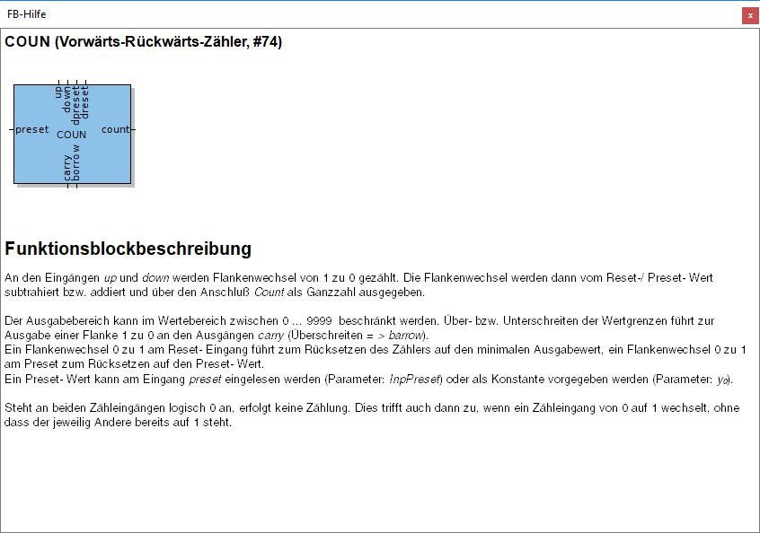"""Funktionsblock Beschreibung """"Vorwärts-Rückwärts-Zähler"""""""